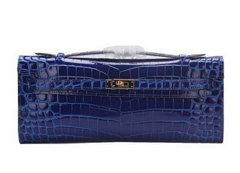 Hermes Kelly Clutch Bag Croco Leather K1002 Blue