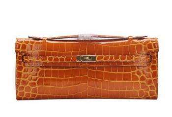 Hermes Kelly Clutch Bag Croco Leather K1002 Brown