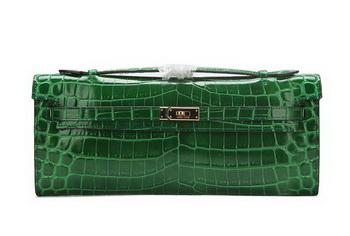 Hermes Kelly Clutch Bag Croco Leather K1002 Green