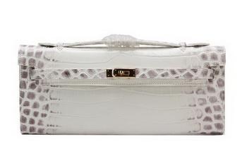 Hermes Kelly Clutch Bag Croco Leather K1002 OffWhite