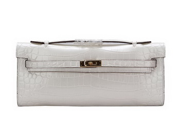 Hermes Kelly Clutch Bag Croco Leather K1002 White