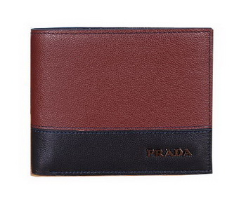 Prada Calfskin Leather Bi-fold Wallet P69522 Maroon