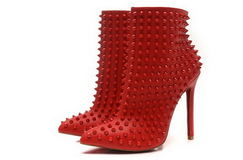 Christian Louboutin Sheepskin Ankle Boot CL1452 Red
