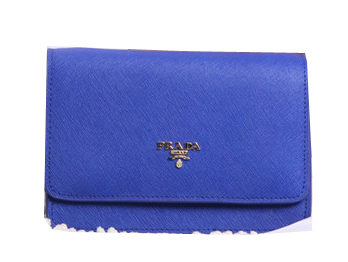 Prada Saffiano Leather Flap Shoulder Bags BT1213 Blue