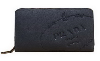 Prada Saffiano Leather Wallets P8012 Blue