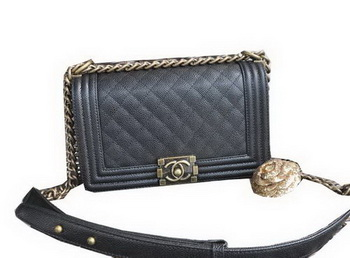 Chanel Boy Flap Shoulder Bags Cannage Pattern Leather A67086 Black