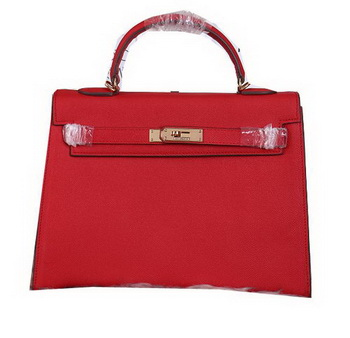Hermes Kelly 32cm Shoulder Bags Grained Leather Burgundy