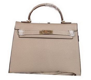 Hermes Kelly 32cm Shoulder Bags Grained Leather Grey