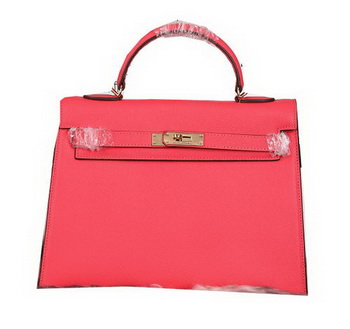 Hermes Kelly 32cm Shoulder Bags Grained Leather Red