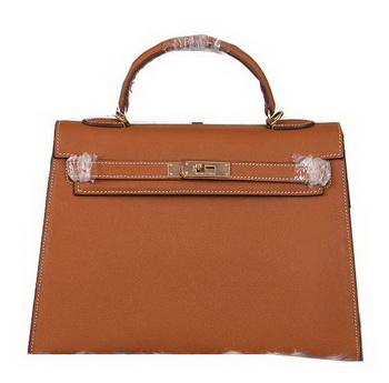 Hermes Kelly 32cm Shoulder Bags Grained Leather Wheat