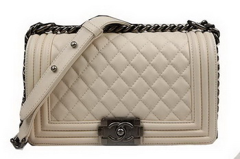 Boy Chanel Flap Shoulder Bags Original Sheepskin Leather A67025 Beige
