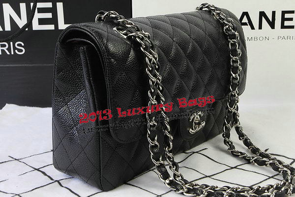 Chanel 2.55 Series Bags Black Cannage Pattern Leather CFA1112 Silver