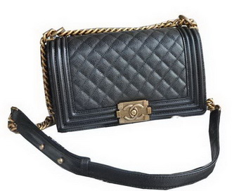 Chanel Boy Flap Shoulder Bags Black Cannage Pattern Leather A67086 Gold