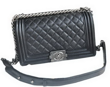 Chanel Boy Flap Shoulder Bags Black Cannage Pattern Leather A67086 Silver