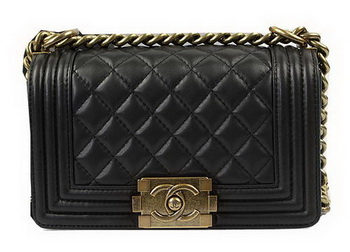 Chanel Boy Flap Shoulder Bags Black Original Lambskin Leather A67085 Gold