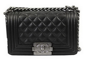 Chanel Boy Flap Shoulder Bags Black Original Lambskin Leather A67085 Silver