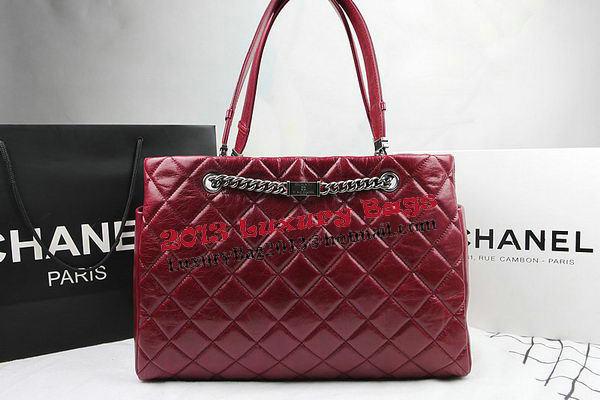 Chanel Calfskin Shopping Bag Embellished A92525 Burgundy