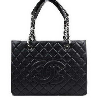 Chanel Classic Coco Bag Black GST Caviar Leather A50995 Silver