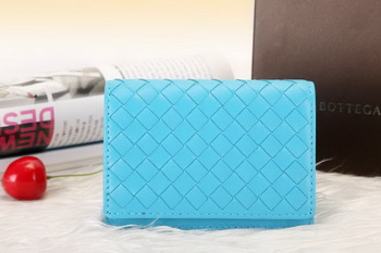 Bottega Veneta Shock Intrecciato Washed Vintage Card Case 133945 SkyBlue