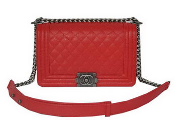 Chanel Boy Flap Shoulder Bags Red Cannage Pattern Leather A67086 Silver