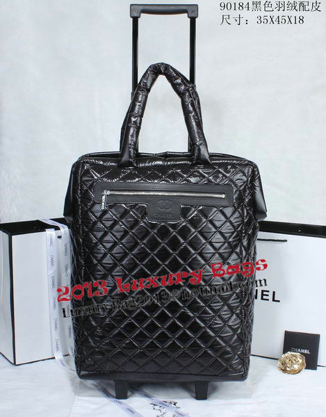 Chanel CoCo Cocoon Quilted Nylon Trolley Case A90184 Black