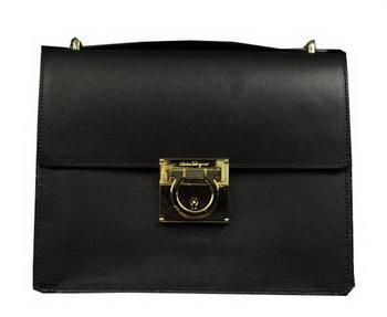 Ferragamo Calfskin Leather Medium Shoulder Bag SF0614 Black