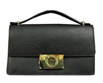 Ferragamo Calfskin Leather Small Shoulder Bag SF0615 Black