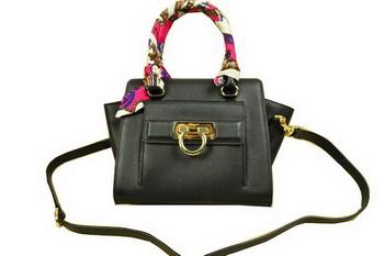 Ferragamo Soft Calfskin Leather Shoulder Tote Bag SF8815 Black