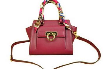 Ferragamo Soft Calfskin Leather Shoulder Tote Bag SF8815 Burgundy
