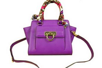 Ferragamo Soft Calfskin Leather Shoulder Tote Bag SF8815 Lavender