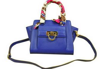 Ferragamo Soft Calfskin Leather Shoulder Tote Bag SF8815 Royal