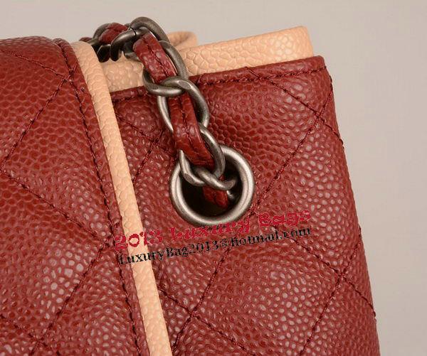 Chanel Large Cannage Pattern Leather Messenger Bag A68672 Burgundy