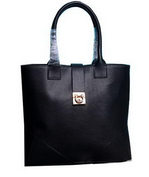 Ferragamo Medium Tote Bag Calfskin Leather 13725 Black