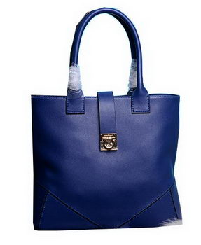 Ferragamo Medium Tote Bag Calfskin Leather 13725 Blue