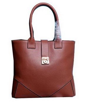 Ferragamo Medium Tote Bag Calfskin Leather 13725 Brown