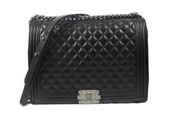 Boy Chanel Flap Shoulder Bag Black Original Sheepskin A67087 Silver