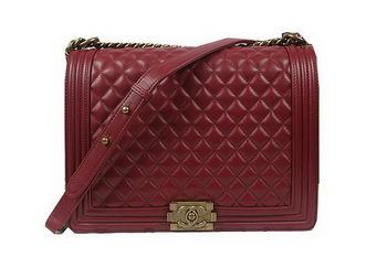 Boy Chanel Flap Shoulder Bag Burgundy Original Sheepskin A67087 Brass