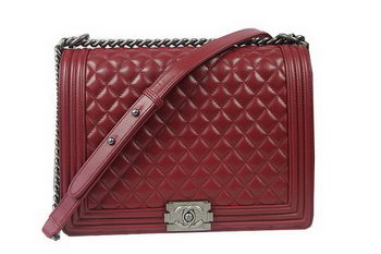 Boy Chanel Flap Shoulder Bag Burgundy Original Sheepskin A67087 Silver