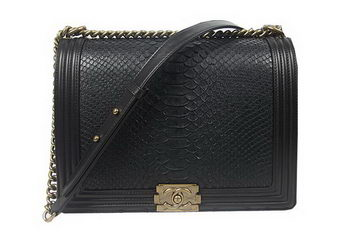 Boy Chanel Flap Shoulder Bag Genuine Snake Leather A67087 Black