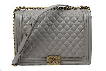 Boy Chanel Flap Shoulder Bag Original Cannage Pattern A67087 Grey