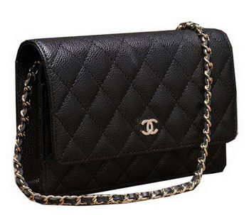 Chanel mini Flap Bag A33814 Black Cannage Pattern Gold