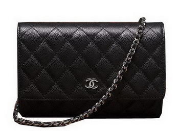 Chanel mini Flap Bag A33814 Black Cannage Pattern Silver