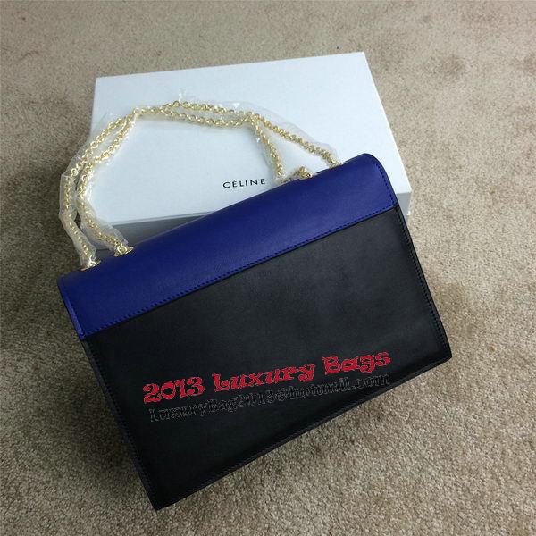 Celine Pocket Handbag Seashell Nubuck Leather 175383 Black&Brown&Royal