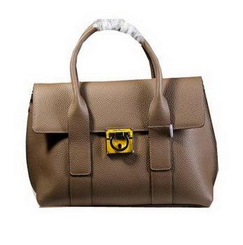 Ferragamo Medium Tote Bag Calfskin Leather 21D941 Khaki
