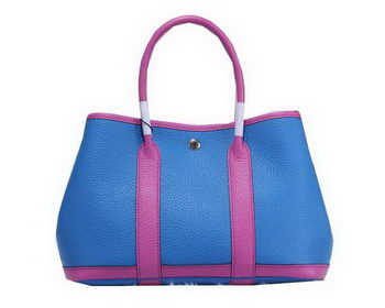 Hermes Garden Party 30cm Tote Bags Grainy Leather Blue&Lavender
