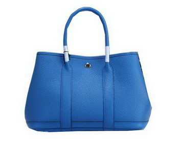 Hermes Garden Party 30cm Tote Bags Grainy Leather Blue