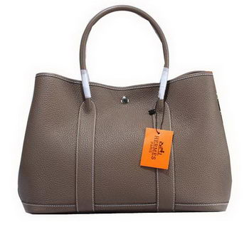 Hermes Garden Party 36cm Tote Bag Grainy Leather Grey