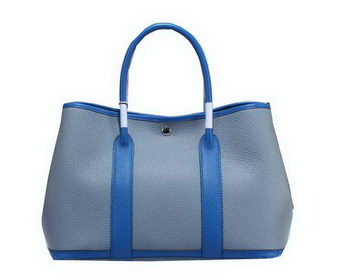 Hermes Garden Party 36cm Tote Bag Grainy Leather SkyBlue&Blue