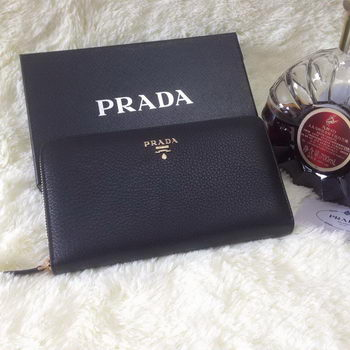 Prada Grainy Leather Large Zippy Wallets Black