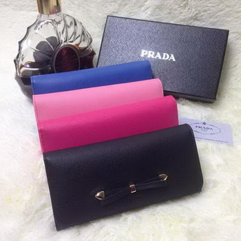 Prada Saffiano Leather Bow Wallet 1M1132